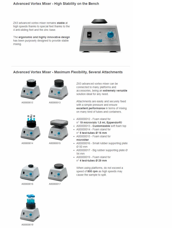 شیکر لوله یا ورتکس میکسر آنالوگ مدل ZX3 کمپانی VELP ایتالیا
